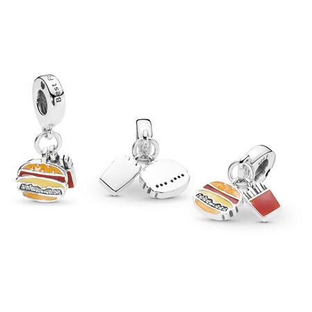 Burger & Fries Dangle Charm, Red, Golden & Yellow Enamel, Sterling silver, Enamel, Orange, Cubic Zirconia - PANDORA - #797211ENMX