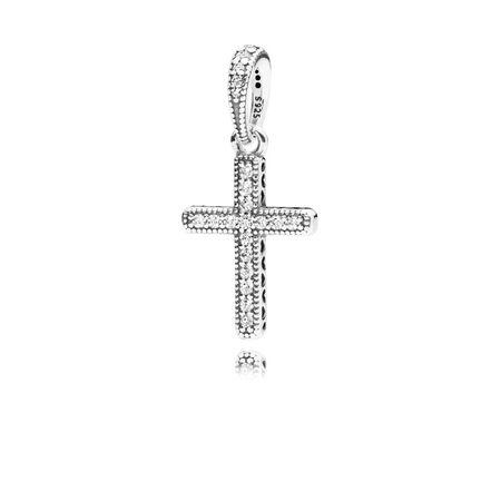 Classic Cross Pendant, Clear CZ