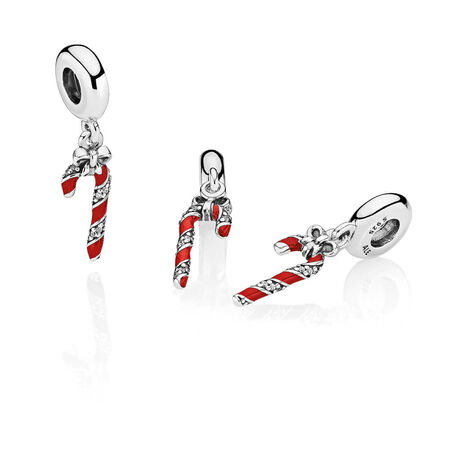 Sparkling Candy Cane Dangle Charm, Berry Red Enamel & Clear CZ