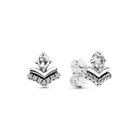 Classic Wishes Earrings, Clear CZ