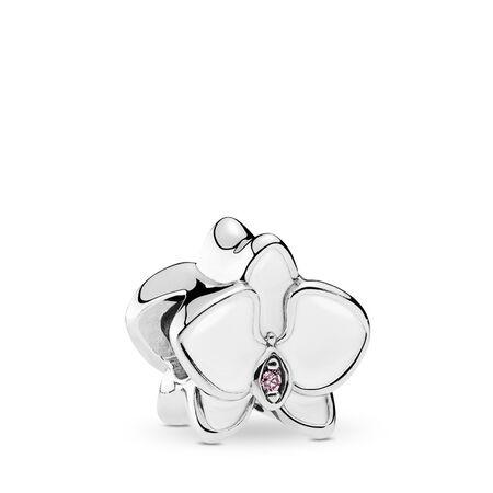 Orchid Charm, White Enamel & Orchid CZ, Sterling silver, Enamel, Pink, Cubic Zirconia - PANDORA - #792074EN12