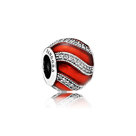 Adornment Charm, Translucent Red Enamel & Clear CZ