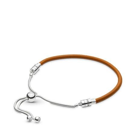 Sliding Golden Tan Leather Bracelet, Clear CZ, Sterling silver, Leather, Brown, Cubic Zirconia - PANDORA - #597225CGT