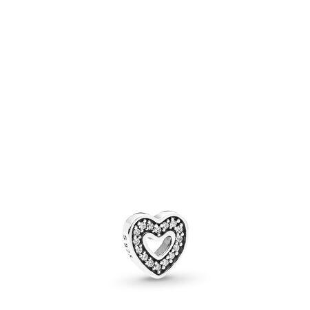 Captured Heart Petite Locket Charm, Sterling silver, Cubic Zirconia - PANDORA - #792163CZ