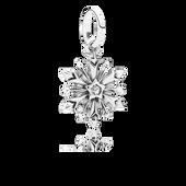 Disney, Frozen Snowflake Dangle Charm, Clear CZ