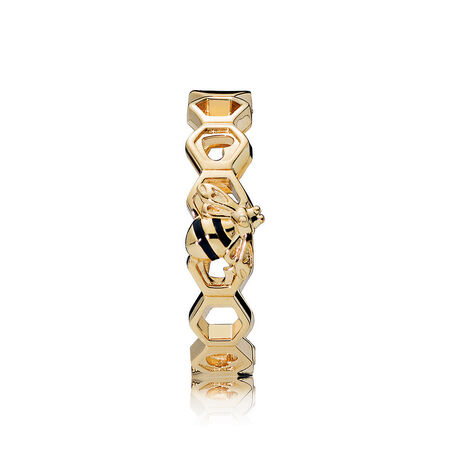 Limited Edition PANDORA Honeybee Ring, PANDORA Shine™ & Black Enamel
