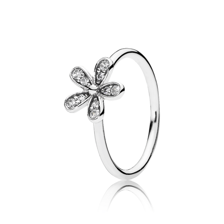 Dazzling Daisy Ring, Clear CZ