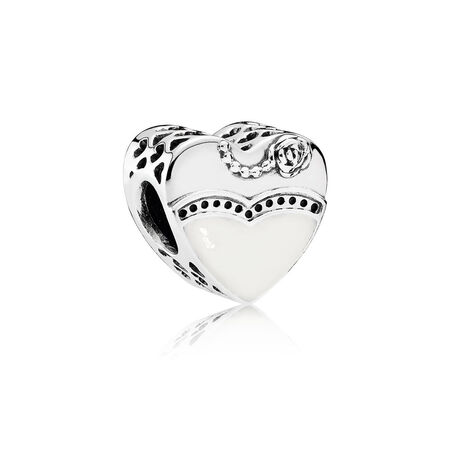 Our Special Day Charm, Black & White Enamel