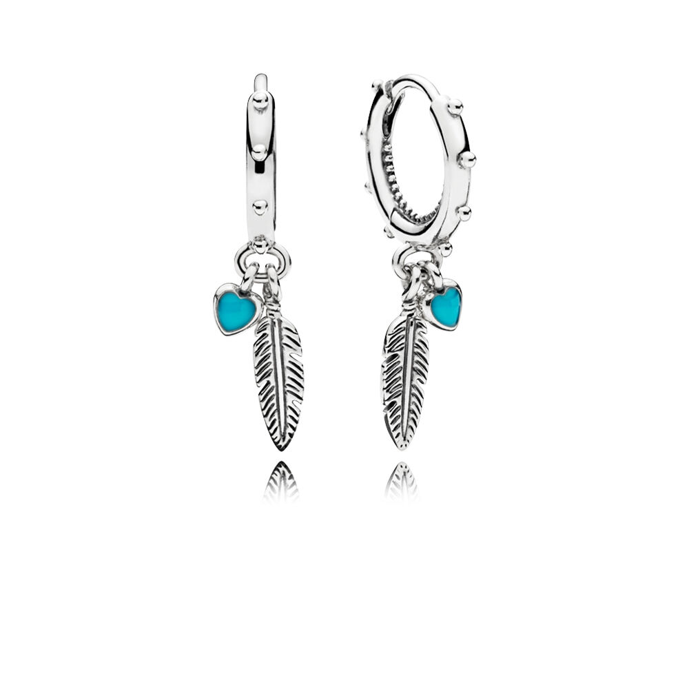 Spiritual Feathers Dangle Earrings Turquoise Enamel