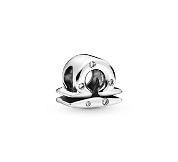 Libra sterling silver charm with clear cubic zirconia