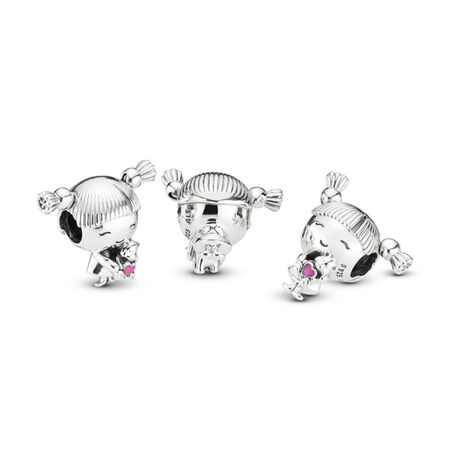 Girl with Pigtails Charm, Sterling silver, Enamel, Pink - PANDORA - #798016EN160