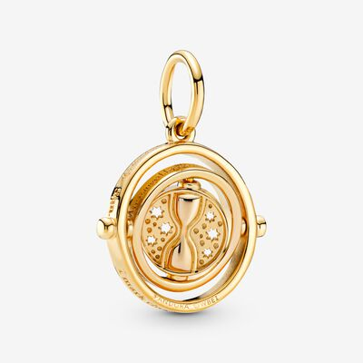 Harry Potter, Spinning Time Turner Pendant, 18k Gold-plated unique metal blend - PANDORA - #369174C00