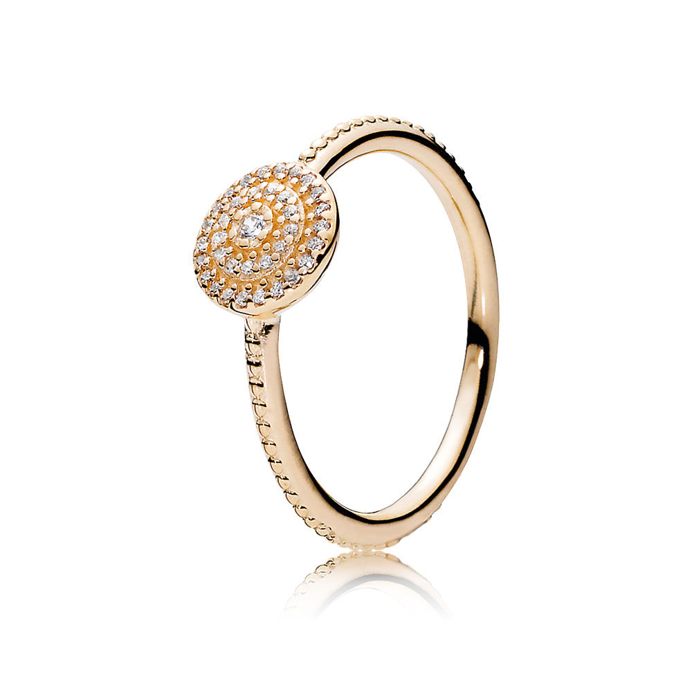 Radiant Elegance Ring 14k Gold Amp Clear Cz Pandora