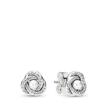 Luminous Love Knots Stud Earrings, White Crystal Pearl & Clear CZ, Sterling silver, White, Mixed stones - PANDORA - #290740WCP