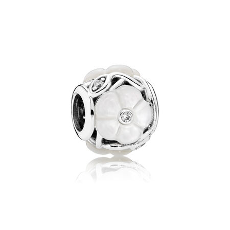 Luminous Florals Charm, Mother-Of-Pearl & Clear CZ, Sterling silver, Mixed stones - PANDORA - #791894MOP
