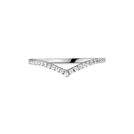 Sparkling Wishbone Ring, Sterling silver, Cubic Zirconia - PANDORA - #196316CZ-48