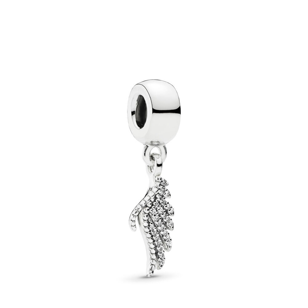 adff93a73 Majestic Feather Dangle Charm, Clear CZ, Sterling silver, Cubic Zirconia -  PANDORA -