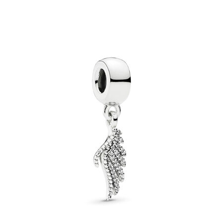 Majestic Feather Dangle Charm, Clear CZ Sterling silver, Cubic Zirconia