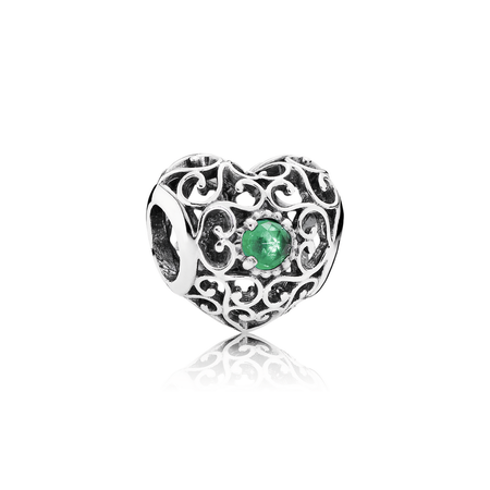 May Signature Heart Charm, Royal Green Crystal