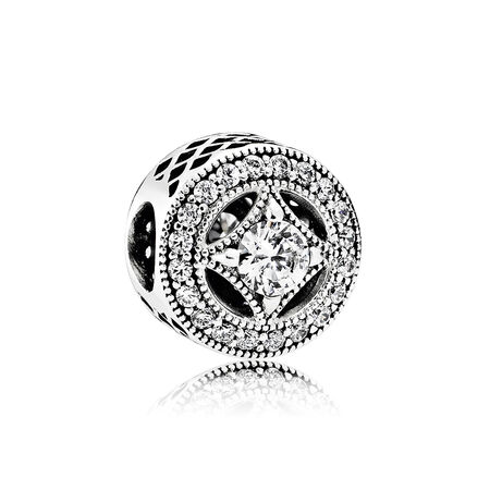 Vintage Allure Charm, Clear CZ
