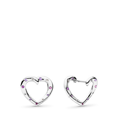 Bright Hearts Hoop Earrings, Royal Purple & Lilac Crystals & Clear CZ, Sterling silver, Purple, Mixed stones - PANDORA - #297231NRPMX