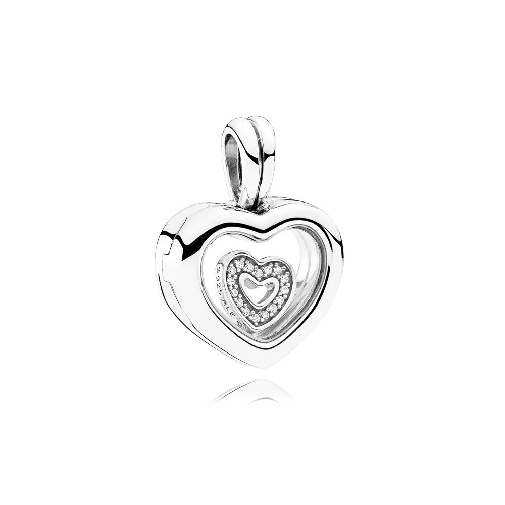 heart lockets glass products sea real clear large shaped authenticated locket
