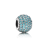 Pavé Lights Charm, Teal CZ