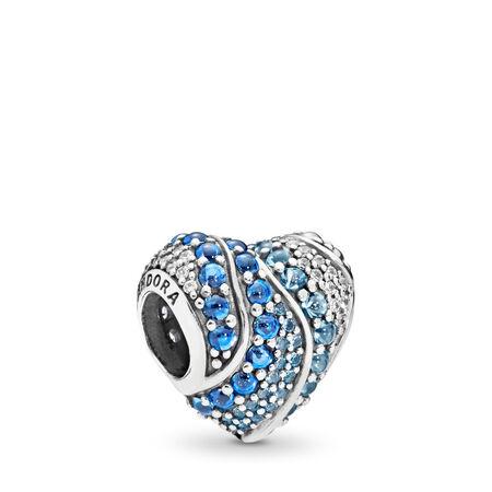 Aqua Heart Charm, Aqua & London Blue Crystals & Clear CZ, Sterling silver, Blue, Mixed stones - PANDORA - #797015NABMX