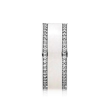 Hearts of PANDORA Ring, Silver Enamel & Clear CZ