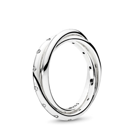 Swirling Symmetry Ring, Clear CZ
