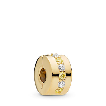 Shining Path Clip, PANDORA Shine™ & Yellow & Clear CZ, 18ct Gold Plated, Yellow, Cubic Zirconia - PANDORA - #767051CSY