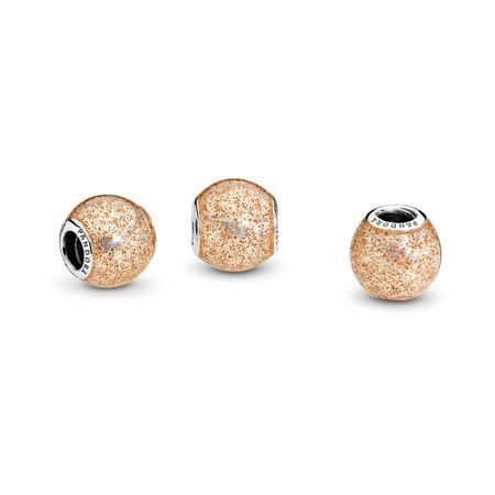 Glitter Ball Charm, Rose Golden Glitter Enamel