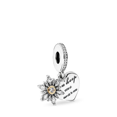 Snowflake Heart Dangle Charm, Clear CZ