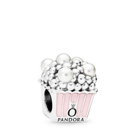 Delicious Popcorn Charm, Pale Pink Enamel & White Crystal Pearls, Sterling silver, Enamel, Pink, Crystal Pearl - PANDORA - #797213EN160