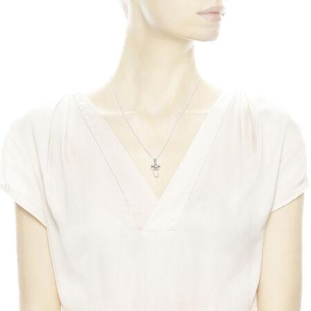 Delicate Sentiments Pendant Necklace, White Pearl & Clear CZ