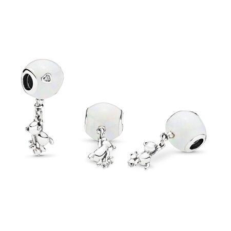 Teddy & Balloon Dangle Charm, Sterling silver, Enamel, Silver, Cubic Zirconia - PANDORA - #797034EN23