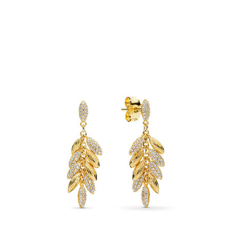 Limited Edition Floating Grains Earrings, PANDORA Shine™ & Clear CZ, 18ct Gold Plated, Cubic Zirconia - PANDORA - #267674CZ