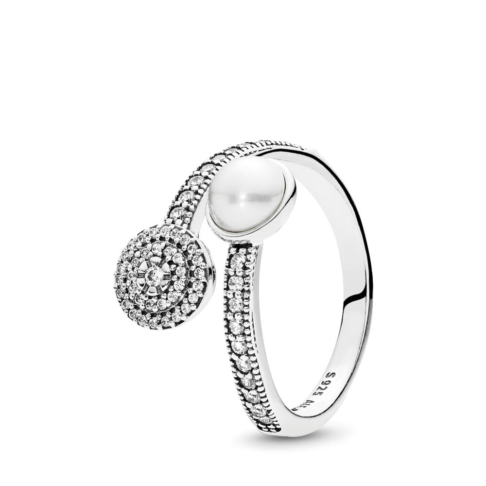 103f87497 Luminous Glow Ring, White Crystal Pearl and Clear CZ