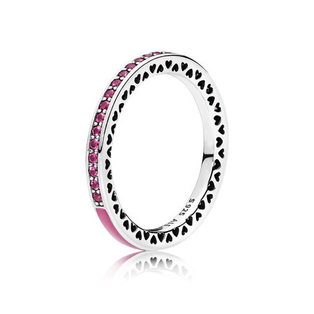 Radiant Hearts of PANDORA Ring, Radiant Orchid Enamel & Cerise Crystals
