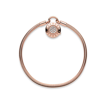 Smooth Pandora Rose Bracelet Signature Padlock Clear Cz