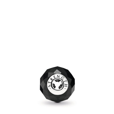 STRENGTH Charm, Black Spinel, Sterling silver, Silicone, Black, Black spinel - PANDORA - #796000SPB