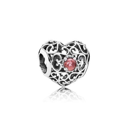 January Signature Heart Charm, Garnet