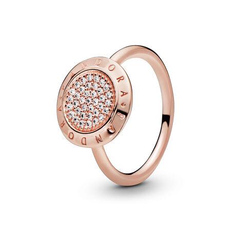 PANDORA Signature Ring, PANDORA Rose™ & Clear CZ