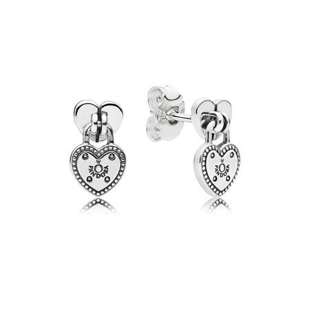 Love Locks Stud Earrings, Sterling silver - PANDORA - #296575