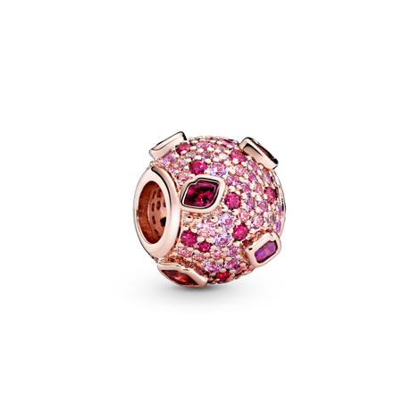 Kiss Pandora Rose charm with red cubic zironia, pink synthetic sapphire and fancy fairy tale pink cubic zirconia