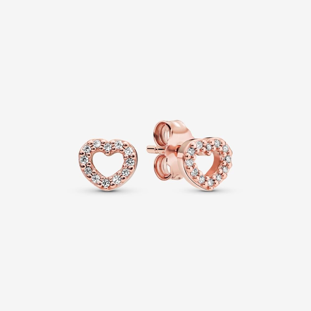 Open Heart Stud Earrings