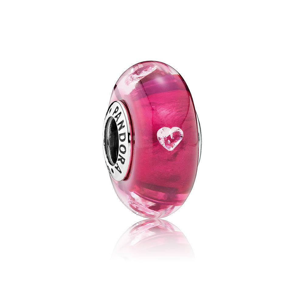 Cerise Heart Charm, Murano Glass & Clear CZ