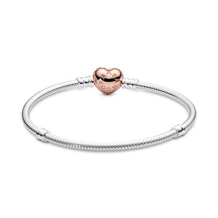 Sterling Silver Bracelet, PANDORA Rose™ Pavé Heart Clasp, PANDORA Rose with sterling silver, Cubic Zirconia - PANDORA - #586292CZ-21