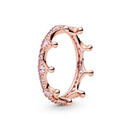 Pink Sparkling Crown Ring, PANDORA Rose, Pink, Crystal - PANDORA - #187087NPO