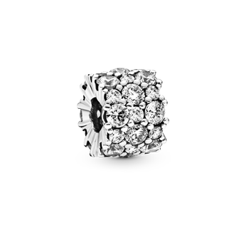 Sterling silver charm with clear cubic zirconia